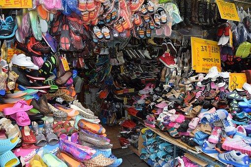 Korea, South Korea Market, Traditional Market, Shoes