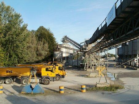 Gravel, Quarry, Plant, Rheinhausen, Industrial