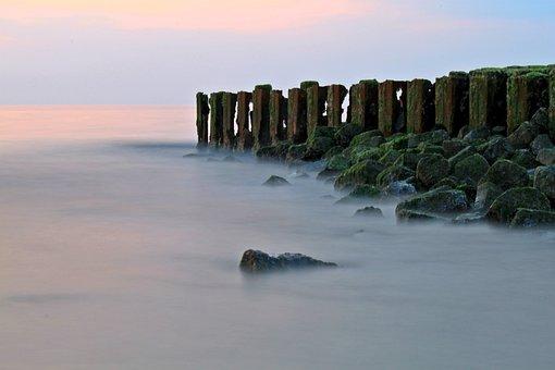 Coast, Fog, Sea, Norderney, North Sea, Breakwater, Rock