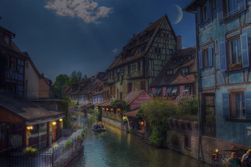 Colmar, Alsace, France, Night, Picturesque
