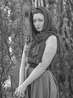 Black And White, Vintage, Scarf, Outdoor, Face, Style