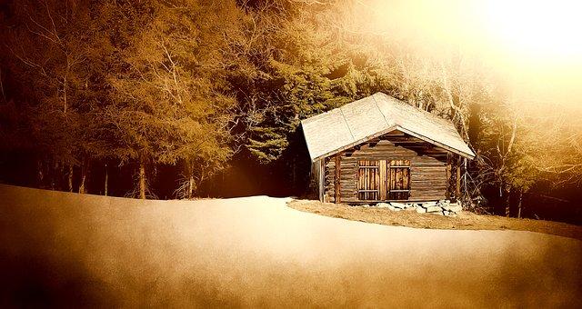 Log Cabin, Wood Mint, Mountain Hut, Meadow, Glade