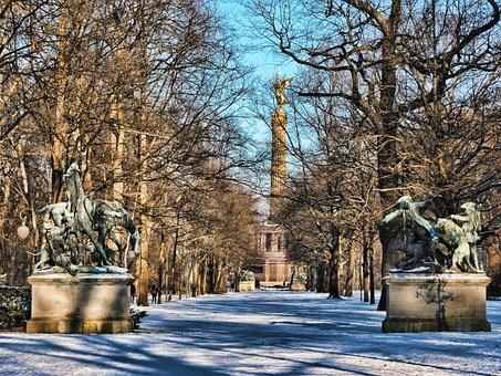 Park, Winter, Siegessäule, Tiergarten, Berlin, Snow