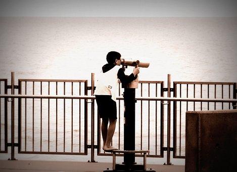 Spyglass, Binoculars, Boy, Coastline, Ocean, Sky, Look
