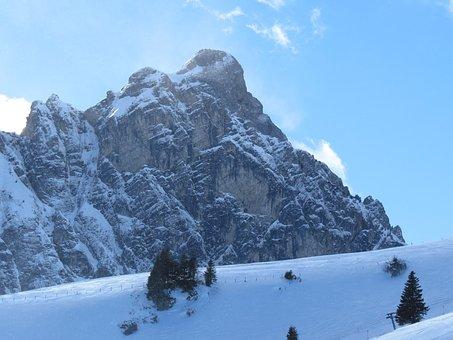 Mountain, Snow, Aggenstein, Winter, White, Sky