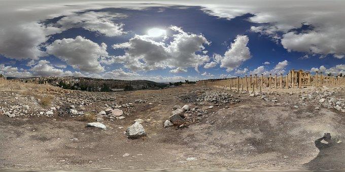 Fisheye, Jerash, Roman, Jordan, Ancient, Tourism
