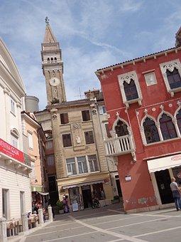 Pyran, Slovenija, Houses, Church, Country, Architecture