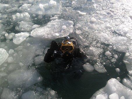 Diver, Ice Diving, Diving, Scuba, Odessa, Ukraine