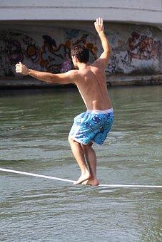 Equilibrist, On, Naviglio, Man, Sport, Walk Line
