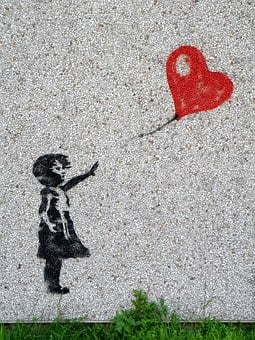 Mural, Girl, Balloon, Child, Heart, Graffiti, Innocent