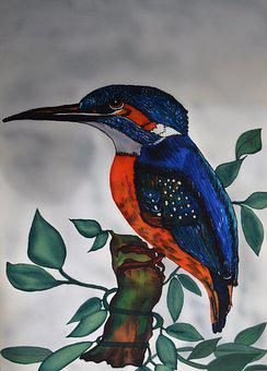 Kingfisher, Alcedo Atthis, Silk Painting, Bird, Nature