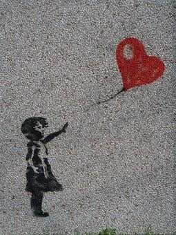 Mural, Girl, Balloon, Heart, Graffiti, Innocent, Love