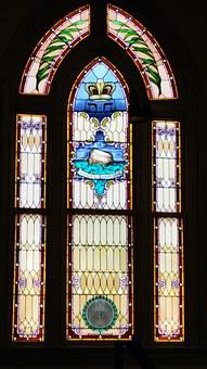Jewish, Temple, Window, Glass, Stained, Blue, Noah, Ark