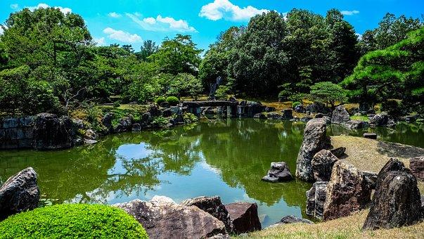Blue Sky, Garden, Green, Japan, Japanese, Puddle