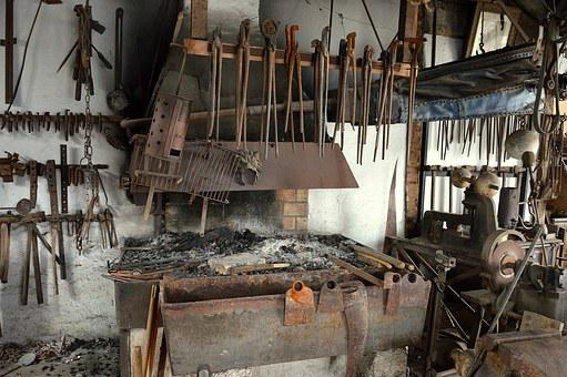 Blacksmith, Forge, Anvil, Wrought Iron, Workshop
