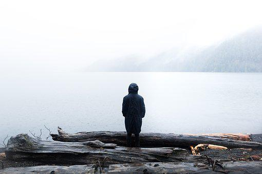 Lake, Logs, Nature, Person, Solo, Wooden Logs