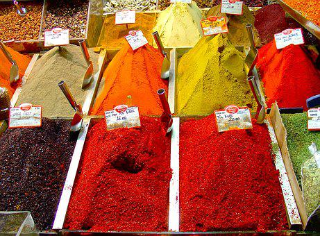 Spices, Turkey, People, Market, Color, Powder, Many