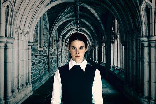 Person, Castle, Hallway, Portrait, Girl, Woman, Femal