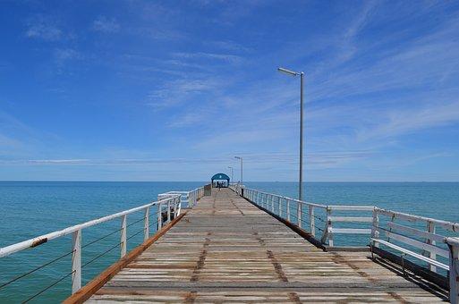 Jetty, Summer, Sunshine, Coast, Sea, Henley Beach