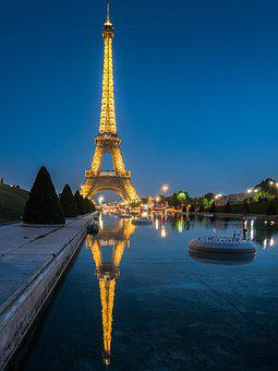 Paris, Eiffel Tower, Water, Night, Reflection, Pond