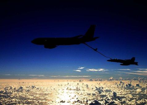 Sky, Clouds, Kc-135, F A-18c, Jets, Fighter Jet, Tanker