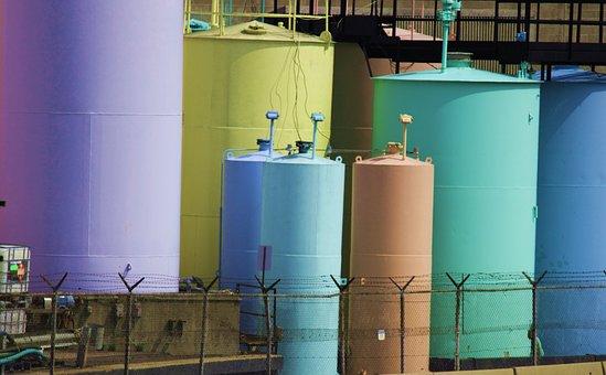 Storage Tanks, Vats, Metal Tanks, Barrels, Pastel Tanks