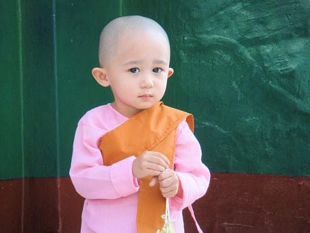 Child, Myanmar, Burma, Monk, Sweet, Diffident, Girl