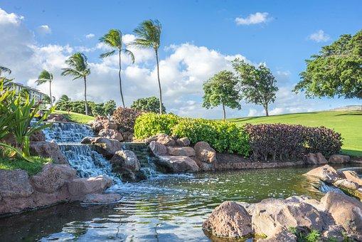 Hawaii, Oahu, Waterfall, Rocks, Ko Olina, Pond