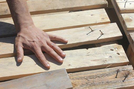 Hand, Wood, Fingers, Nails, Work, Planks, Effort