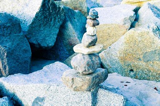 Stones, Sea, Blue, Play, Balance, Baltic Sea