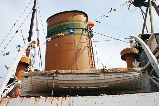 Lifeboat On Tug Boat, Boat, Tug, Old, Retired, Stack