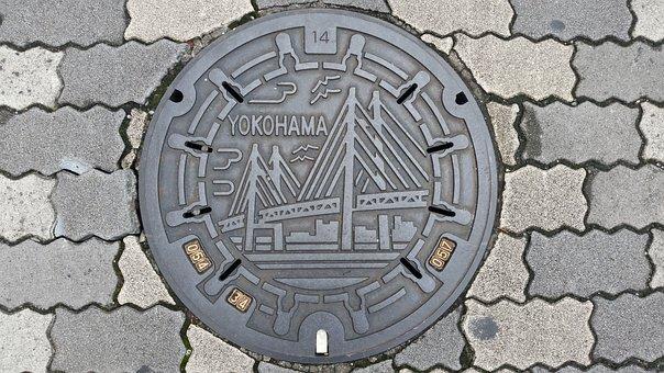Lid, Yokohama, Drain Lid, Metal, City, Sewerage, Drain