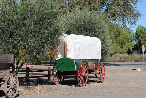 Wagon, Cowboy, America, Old, Charette, Amish, Tent