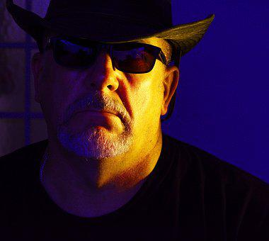 Cowboy, Sunglasses, Shades, Hat, Western, Side Lighting
