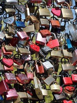 Love Locks, Bridge Railing, Love, Symbol, Shine, Bridge