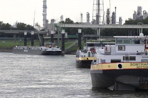 Rhine, Shipping, Water, River, Dormagen, Unload Station