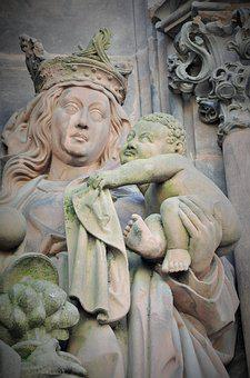 Virgin, Virgin And Child, Statue, Cathedral