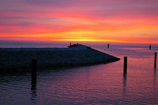 Sunset, Mole, Marina, Sailing Boat, Summer Evening