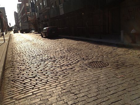 Dumbo, Brooklyn, Cobblestones, Street, Cars, City