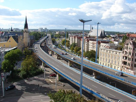 Halle Germany, City, Flyover