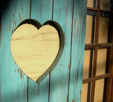 Cutout, Heart, Shutter, Wood, Mint Green, Love, Shape