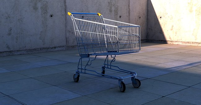 Shopping Cart, Dolly Cart, Shopping, Contour, Metallic
