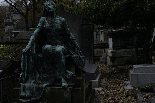 Cemetery, Paris, Montmartre, Mourning, Sculpture