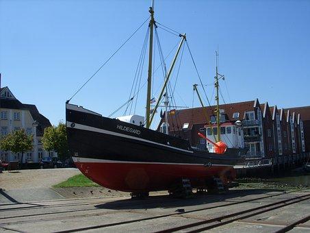 Hildegard, Ship, Husum, Port, Boot, Kahn