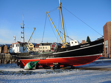 Sailing Boat, Ship, Husum, Port, Boot, Kahn, Dry Dock