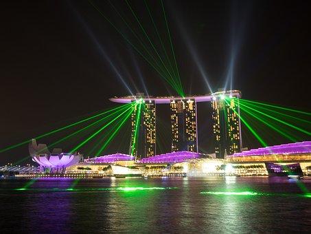 Singapore, Hotels, Marina Bay Sands, Night, Light Show