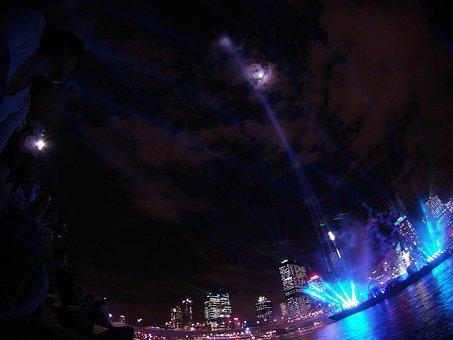 Laser Show, Laser, Brisbane, City, Lights, Night