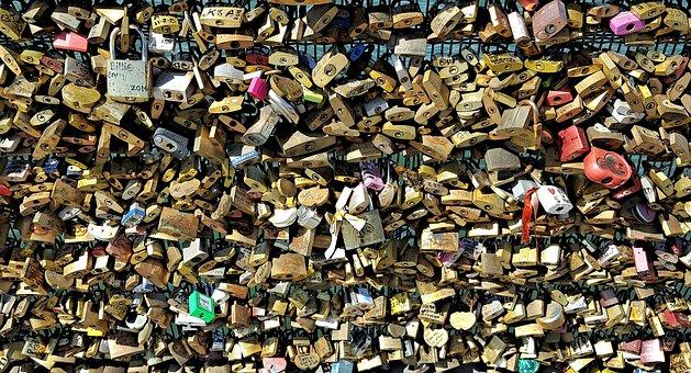 Padlocks, Paris, France, Bridge, River, Romance