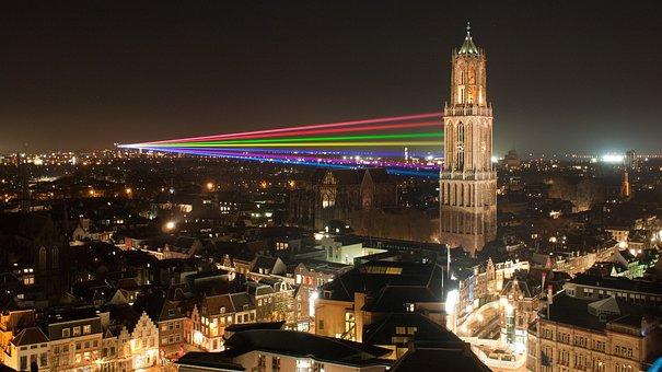 Utrect, Netherlands, City, Skyscraper, Lights