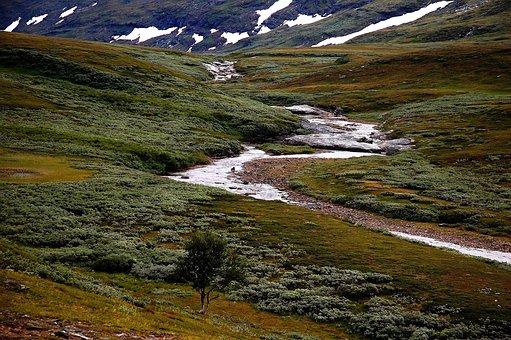 Sweden, Landscape, Stream, Water, Mountains, Grass